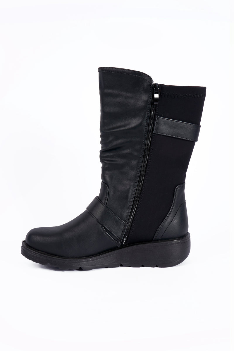 Karen Black Wedge Wide Fit PU Calf Boot   Sizes : 4-8