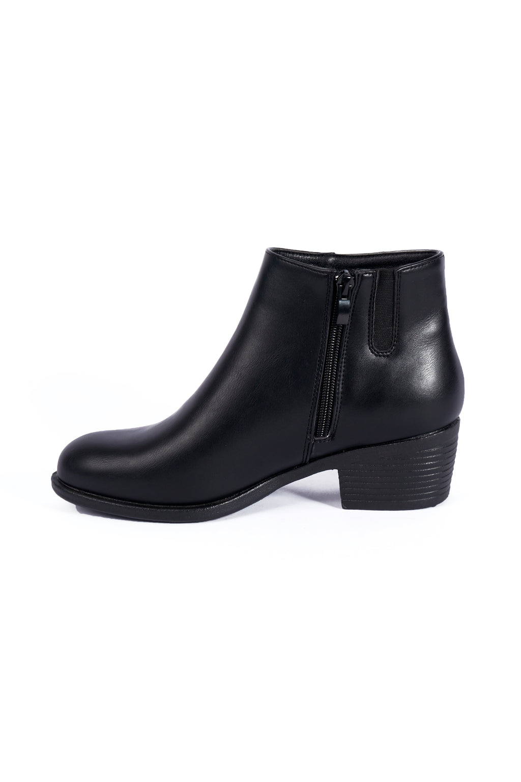 Lila Black PU Ankle Boot