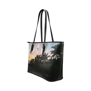 Sunset Art Leather Tote Bag (Small) - The Capital Dolls