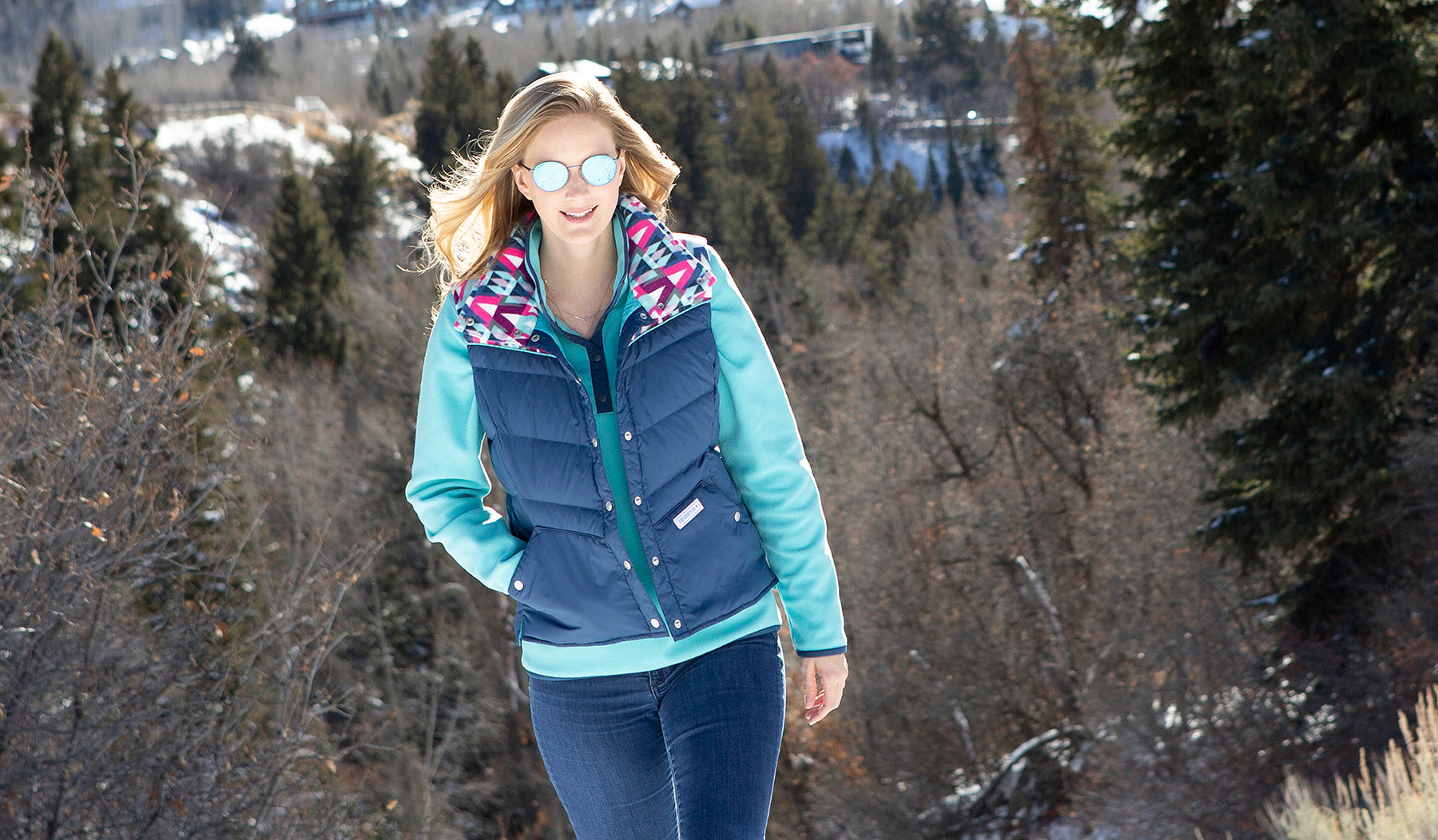 round metal sunglasses obermeyer ski vest outdoors hiking blue women ladies