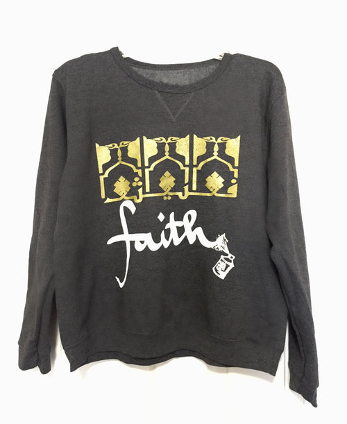 Fleece FAITH Pullover -Gray