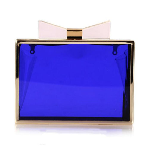Clear Acrylic Evening Clutch Bag w/Bow Detail