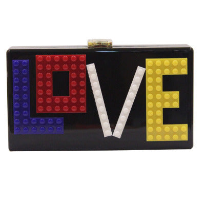 LOVE Letters White Acrylic Box Clutch