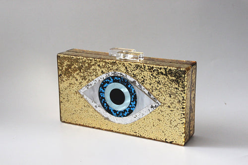 Evil Eye Acrylic Clutch Handbag Gold