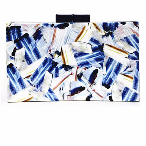 Blue Multi Painted Marble Box Clutch