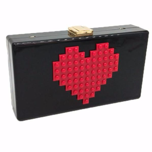 Red Heart Shape Acrylic Box Clutch