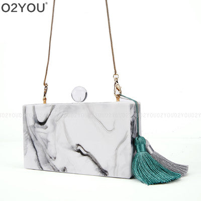 Simple White Marble Acrylic Clutch