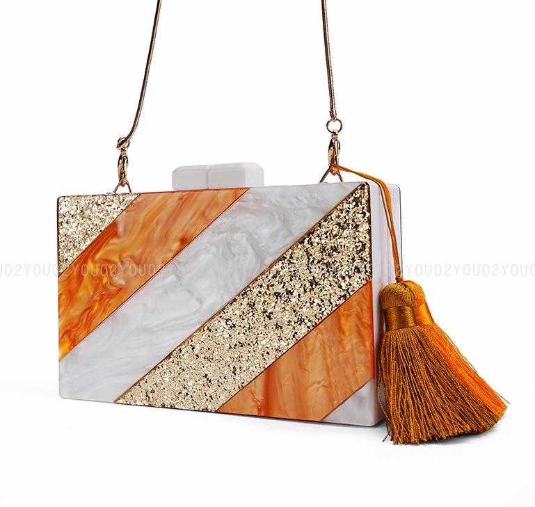 Orange & Gold Striped Acrylic Marble Clutch