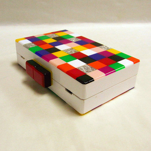 Checkered Rainbow Marble Clutch