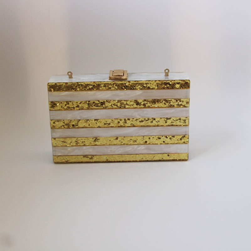 Gold Glitter With Pearl Acrylic Clutch