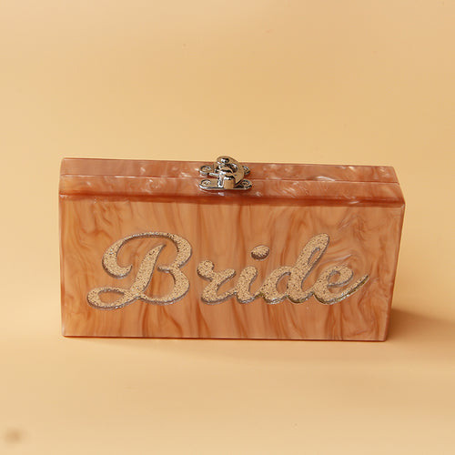 Bride Rose Marble Acrylic Box Clutch