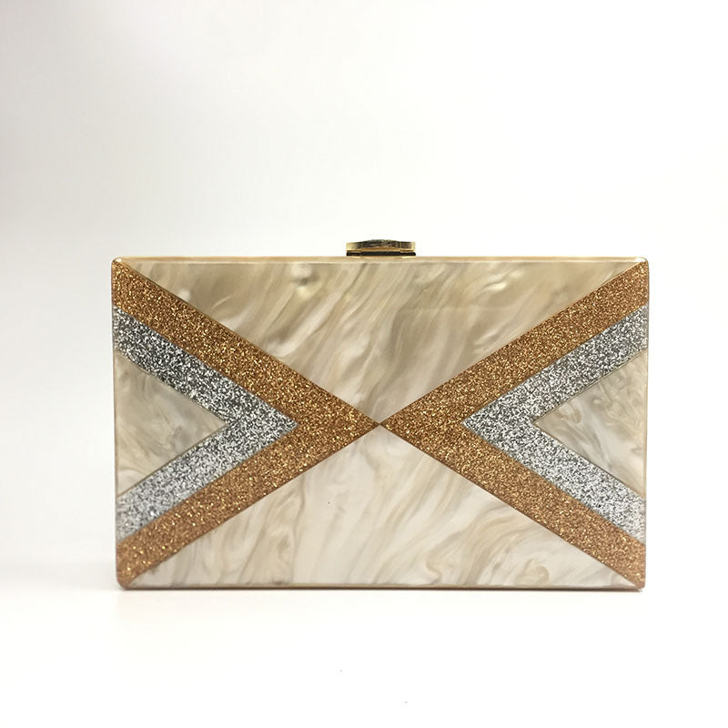 Angled Striped Marble Acrylic Box Clutch