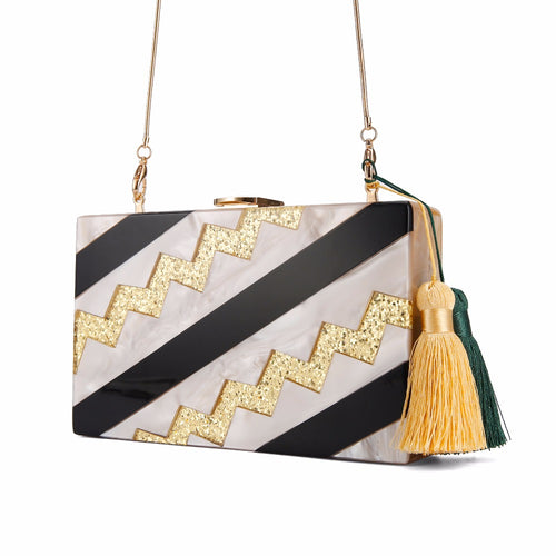 Zig Zag Striped Marble Acrylic Box Clutch