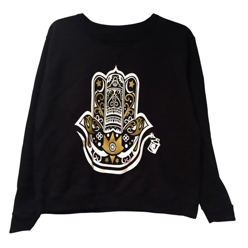 Sweatshirts - Fleece Hamza Hand Pullover - Black