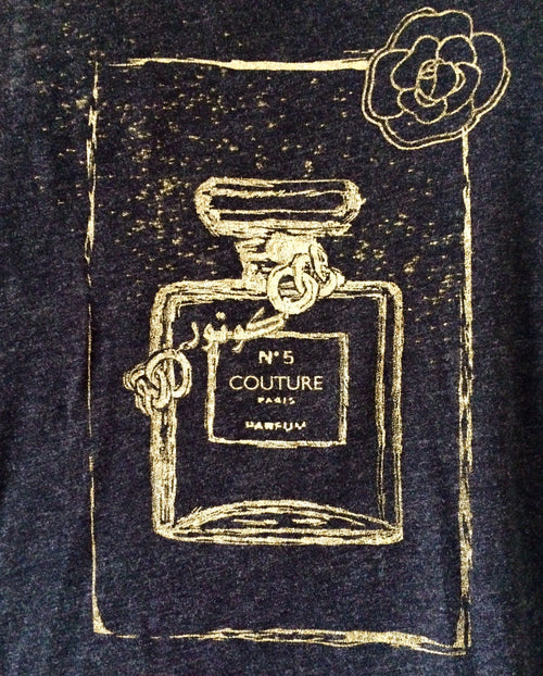 "Tees - Arabic ""Couture"" Perfume Bottle Short Sleeve Tshirt - Black"