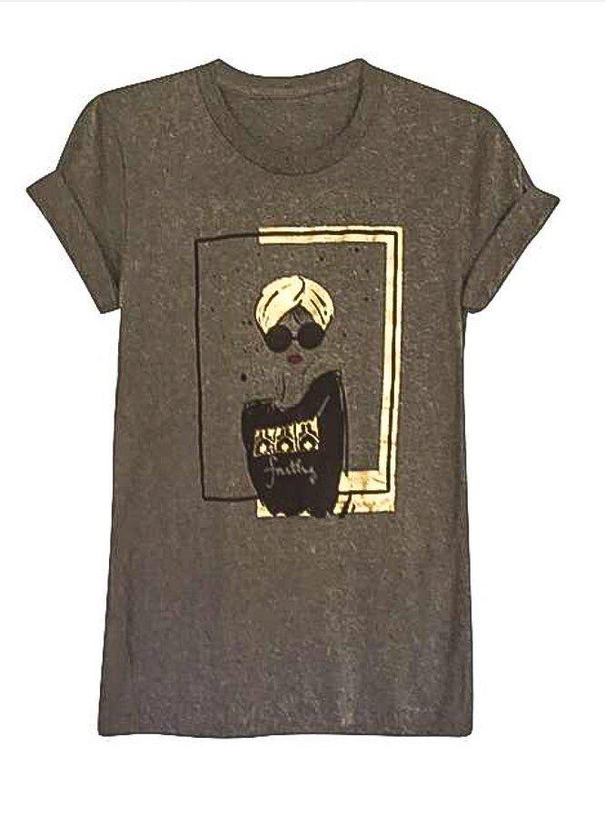 Tees - Turban Girl Short Sleeve Tshirt- Gray