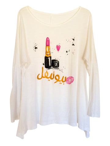 "White Graphic ""Beautiful"" Lipstick Women's Tee"