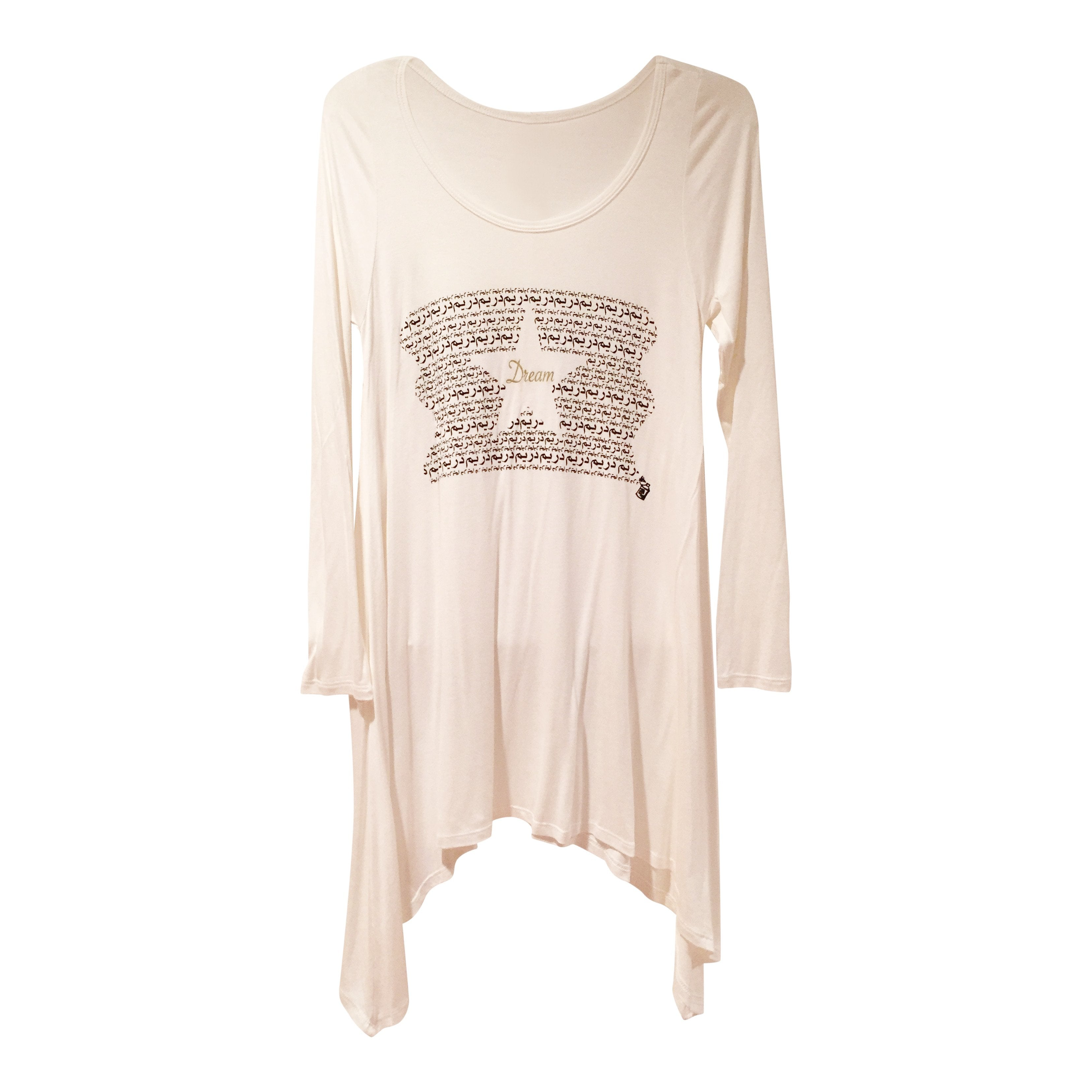 "Tunics - Arabic ""DREAM"" Long Tunic Tee- White"