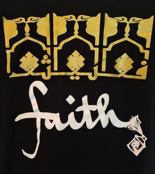 "Tunics - Arabic ""Faith"" Long Sleeve Tunic- Black"