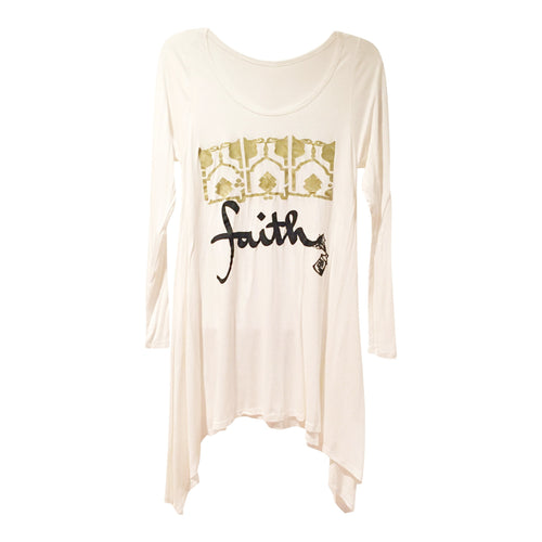 Tunics - Arabic FAITH Long Sleeve Tunic - White