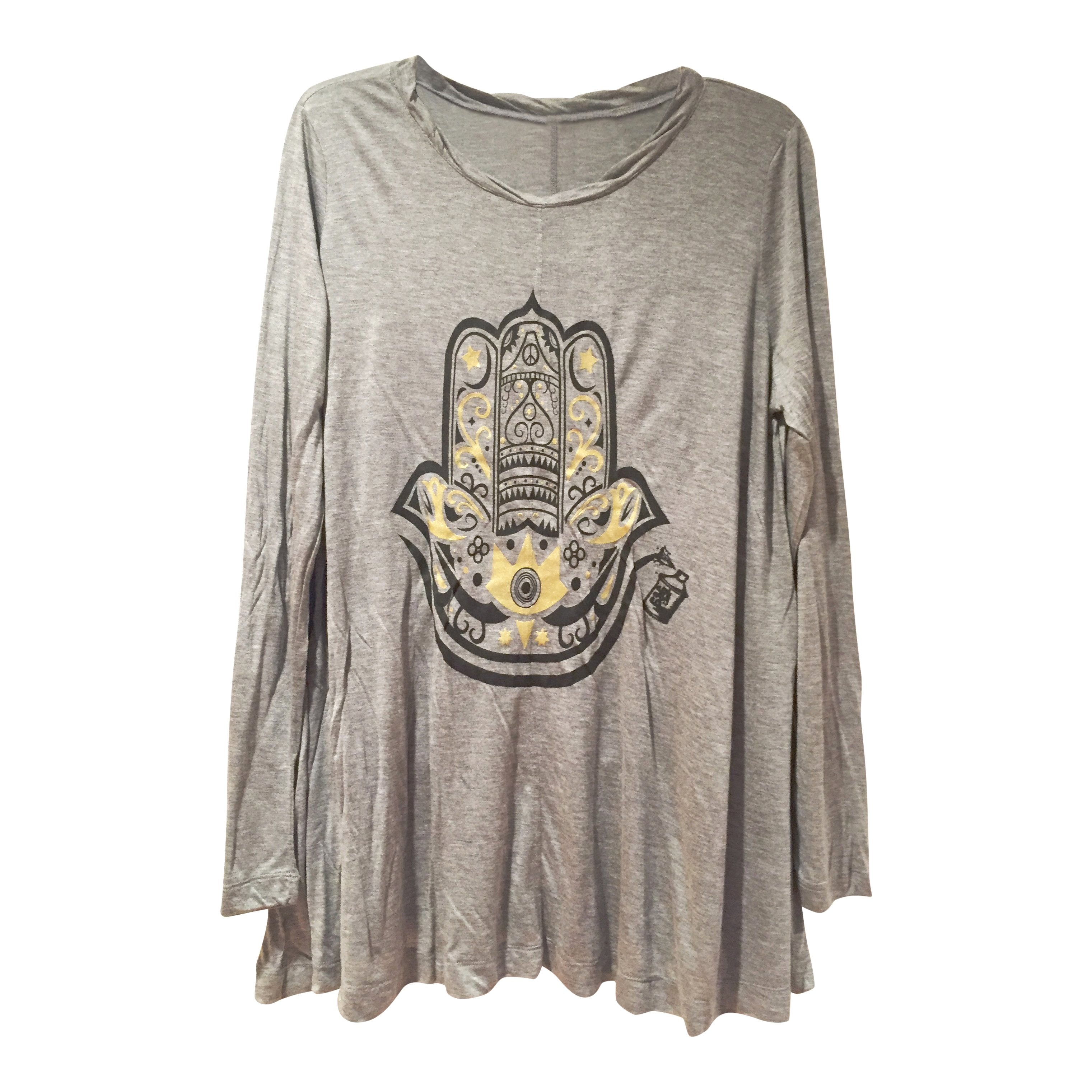 "Tunics - Arabic ""Hamza Hand"" Long Sleeve Tunic- Grey"