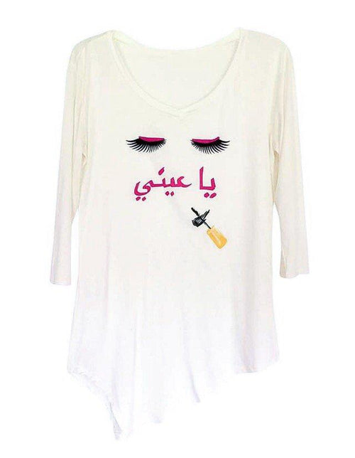 "Tunics - Arabic ""Ya 3eeny"" Eyelash Long Sleeve Tunic- White"
