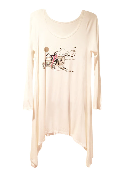 Tunics - Desert Girl Long Sleeve Tunic - White