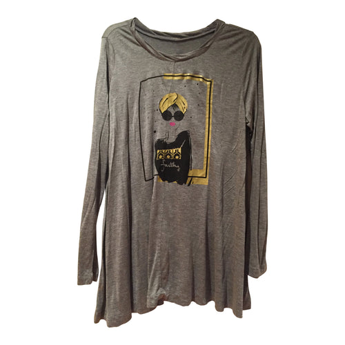Tunics - Turban Girl Long Sleeve Tunic - Gray