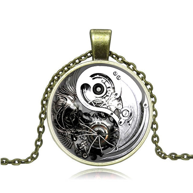"Steampunk Necklace ""Black & White"" - Anhänger - SteampunkSpirit"