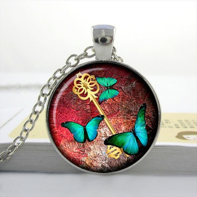 "Steampunk Necklace ""Butterfly Key"""
