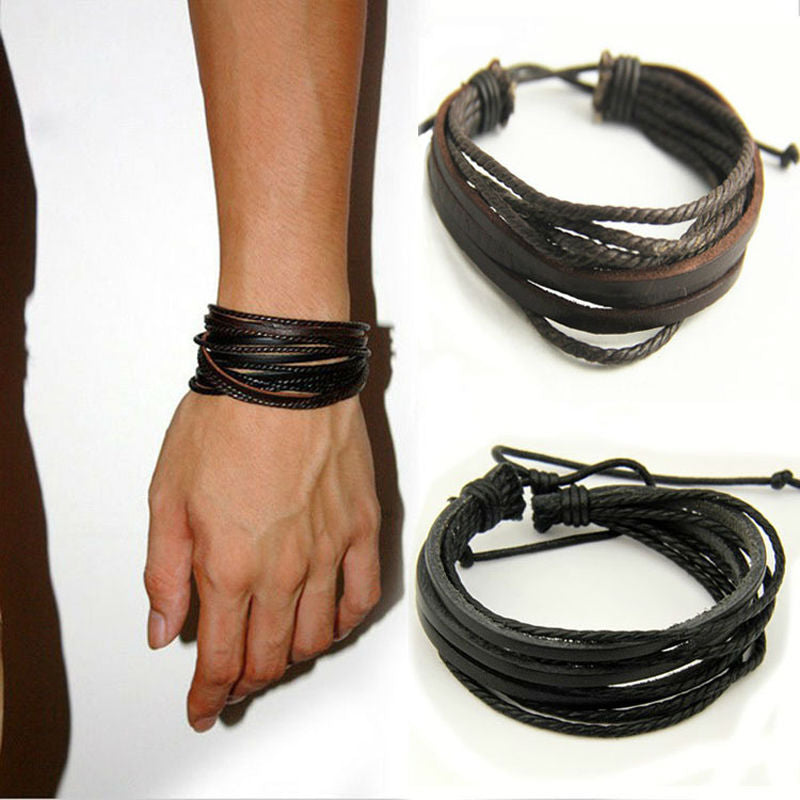 Brown or Black Handmade Leather Braided Surfer Mens, Boys Bracelet