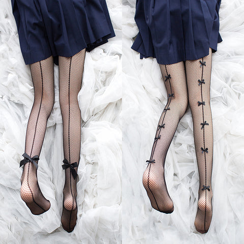 Bowknot Fishnet Socks