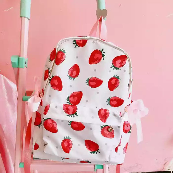 Strawberry Printed  Backpack