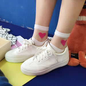 Gauze Splicing Love Heart Socks