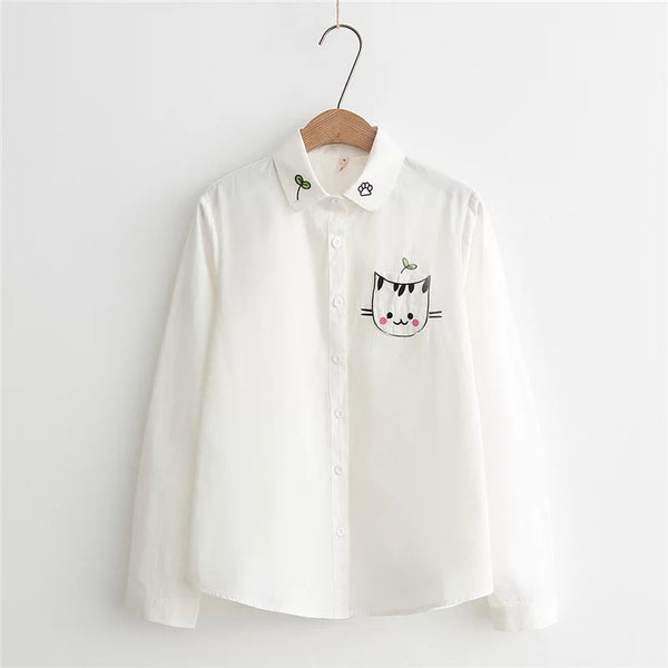 Embroidered Cat  Shirt