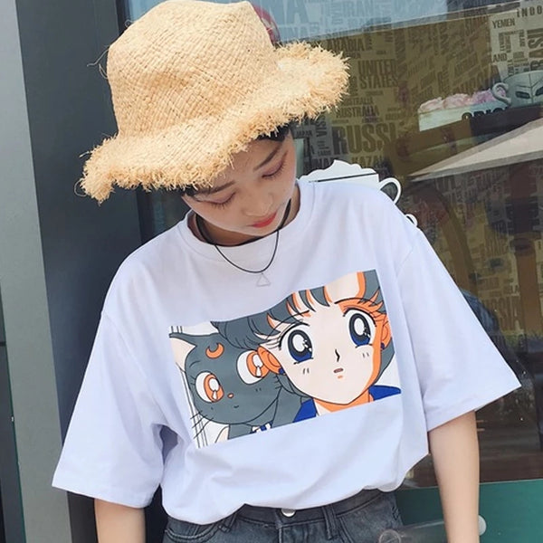 Girl And Cat Printed T-Shirt