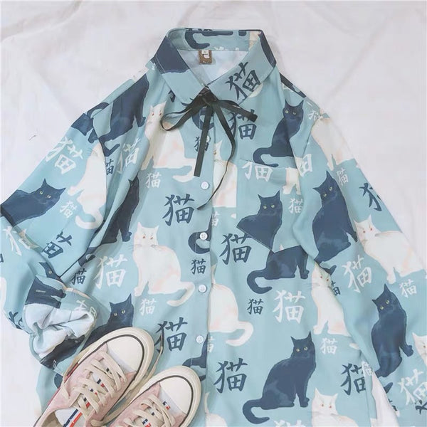 Kawaii Cats Printed Shirt