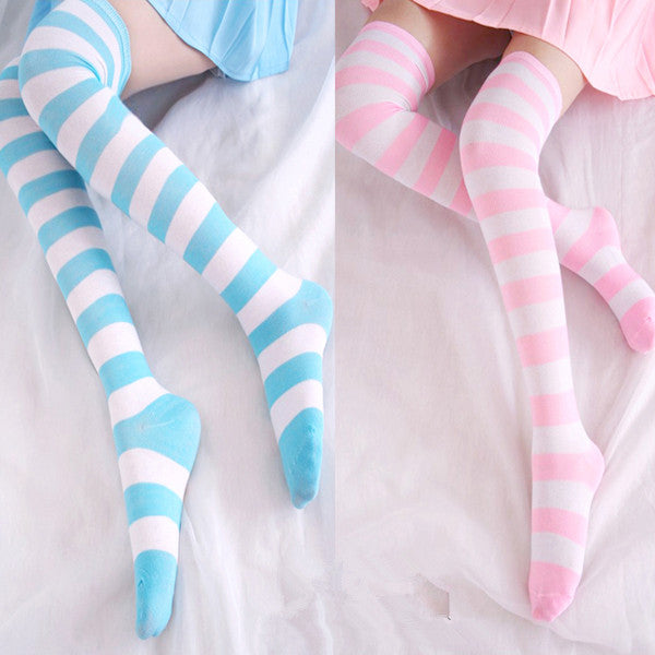 Pinky Color Stripes Pants Socks