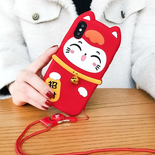 Fortune Cat Phone Case For Iphone6/6S/6P/7/7P/8/8plus/X/XS/XR/XSmax/11/11pro/11proMax