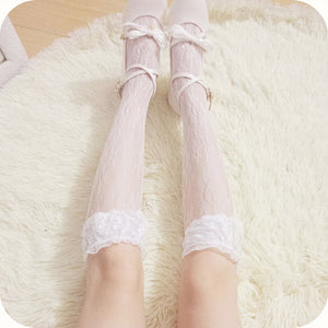 Lace Knee-high Silk Stockings