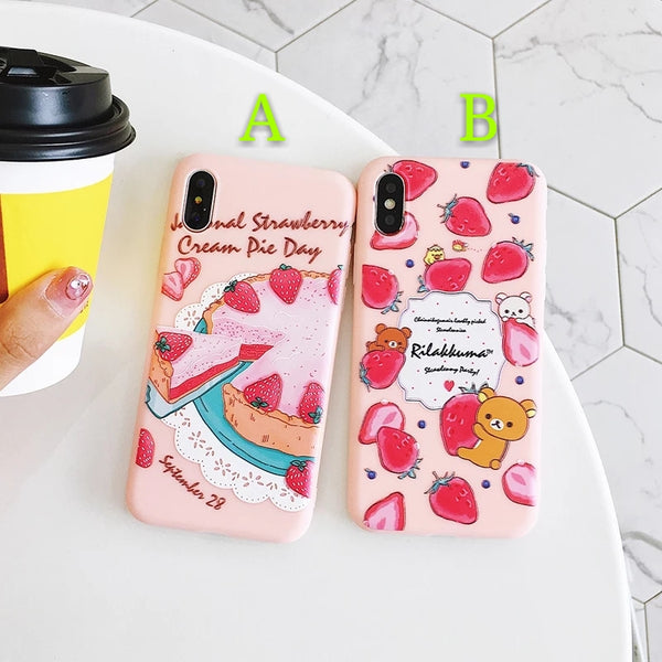 Strawberry Cake Phone Case For Iphone6/6S/6P/7/7P/8/8plus/X/XS/XR/Xs max