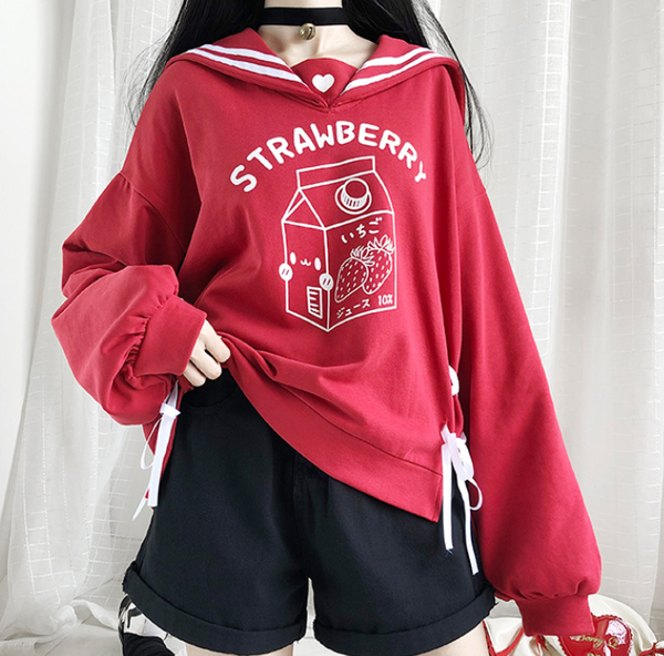 Sailor Collar Strawberry Hoody