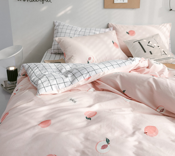 Harajuku Plaid Peach Bedding Set