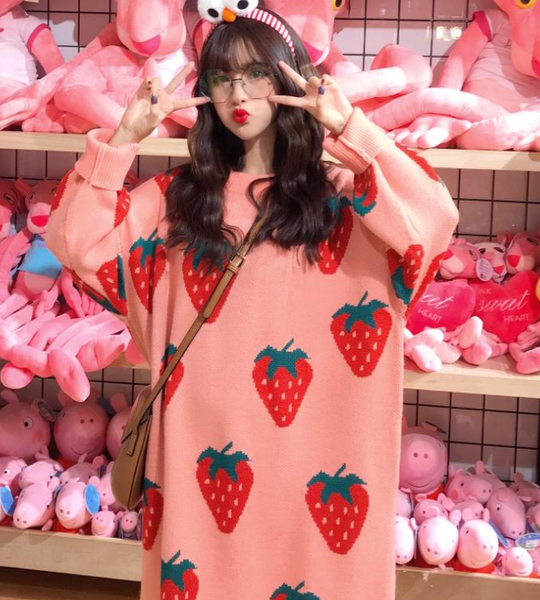Cute Strawberry Sweater Dress