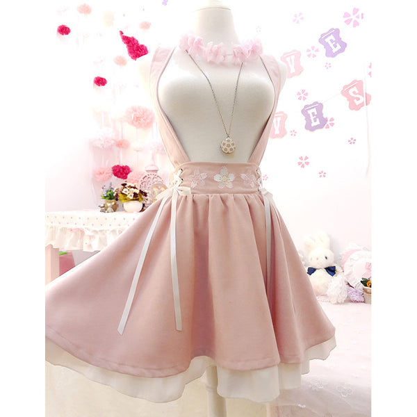 Sakura Embroidered Suspender Skirt