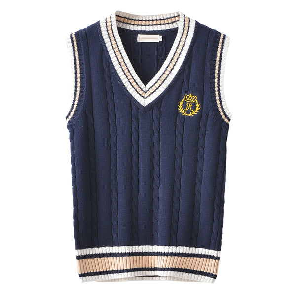 Preppy Style Knitted Vest