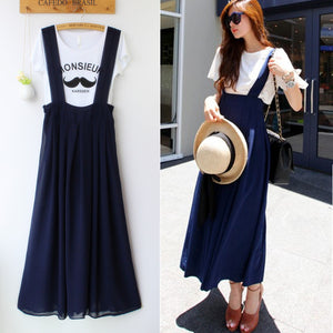 Korean Pure Color  Suspender Skirt