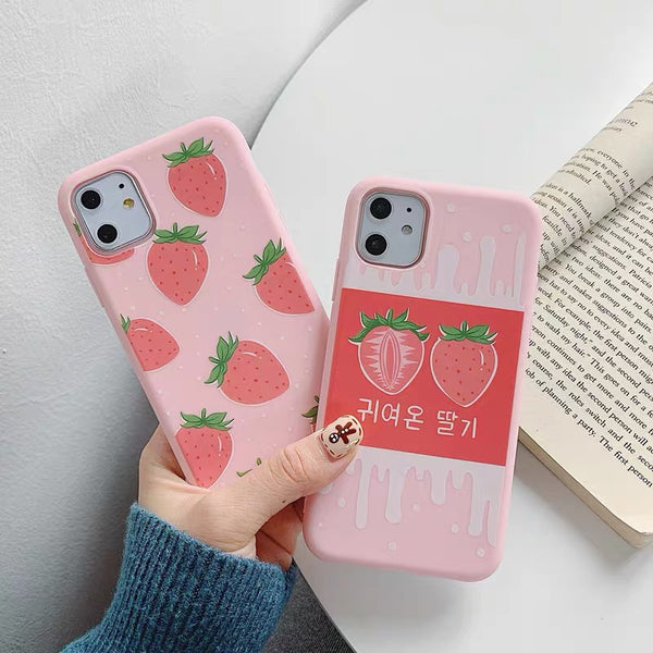 Strawberry Phone Case For Iphone6/6S/6P/7/7P/8/8plus/X/XS/XR/Xs max/11/11pro/11pro max