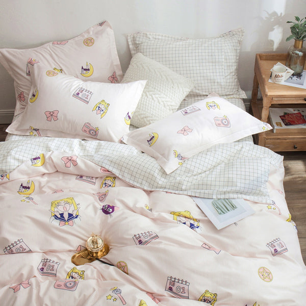 Girl And Cat Bedding Set