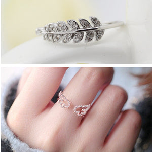 Angel Wings & Leaf Silver Ring